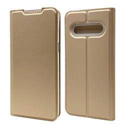 Ultra Slim Card Magnetic Automatic Suction Leather Wallet Case for LG V60 ThinQ 5G - Champagne