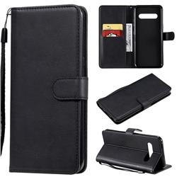Retro Greek Classic Smooth PU Leather Wallet Phone Case for LG V60 ThinQ 5G - Black