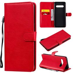 Retro Greek Classic Smooth PU Leather Wallet Phone Case for LG V60 ThinQ 5G - Red