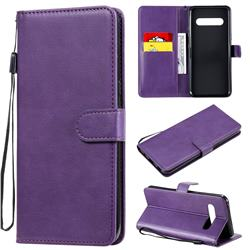 Retro Greek Classic Smooth PU Leather Wallet Phone Case for LG V60 ThinQ 5G - Purple