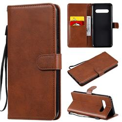 Retro Greek Classic Smooth PU Leather Wallet Phone Case for LG V60 ThinQ 5G - Brown