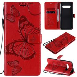Embossing 3D Butterfly Leather Wallet Case for LG V60 ThinQ 5G - Red