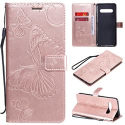 Embossing 3D Butterfly Leather Wallet Case for LG V60 ThinQ 5G - Rose Gold