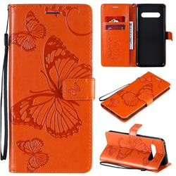Embossing 3D Butterfly Leather Wallet Case for LG V60 ThinQ 5G - Orange