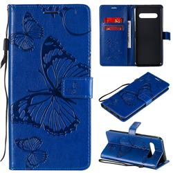 Embossing 3D Butterfly Leather Wallet Case for LG V60 ThinQ 5G - Blue