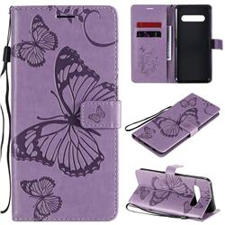 Embossing 3D Butterfly Leather Wallet Case for LG V60 ThinQ 5G - Purple