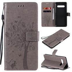 Embossing Butterfly Tree Leather Wallet Case for LG V60 ThinQ 5G - Grey