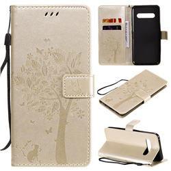 Embossing Butterfly Tree Leather Wallet Case for LG V60 ThinQ 5G - Champagne