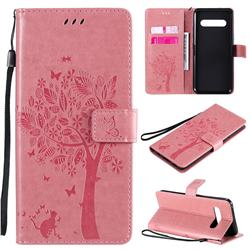 Embossing Butterfly Tree Leather Wallet Case for LG V60 ThinQ 5G - Pink