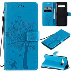 Embossing Butterfly Tree Leather Wallet Case for LG V60 ThinQ 5G - Blue