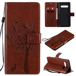 Embossing Butterfly Tree Leather Wallet Case for LG V60 ThinQ 5G - Coffee