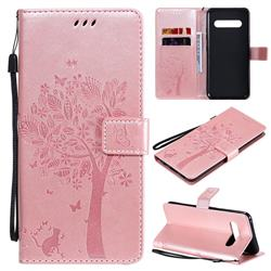 Embossing Butterfly Tree Leather Wallet Case for LG V60 ThinQ 5G - Rose Pink