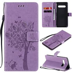 Embossing Butterfly Tree Leather Wallet Case for LG V60 ThinQ 5G - Violet
