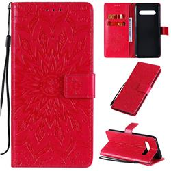 Embossing Sunflower Leather Wallet Case for LG V60 ThinQ 5G - Red