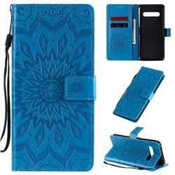 Embossing Sunflower Leather Wallet Case for LG V60 ThinQ 5G - Blue