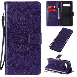 Embossing Sunflower Leather Wallet Case for LG V60 ThinQ 5G - Purple