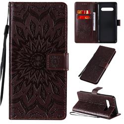 Embossing Sunflower Leather Wallet Case for LG V60 ThinQ 5G - Brown