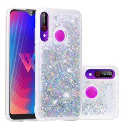 Dynamic Liquid Glitter Quicksand Sequins TPU Phone Case for LG W30 - Silver