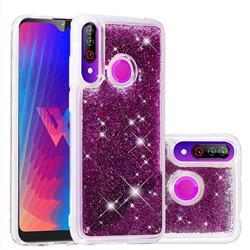 Dynamic Liquid Glitter Quicksand Sequins TPU Phone Case for LG W30 - Purple