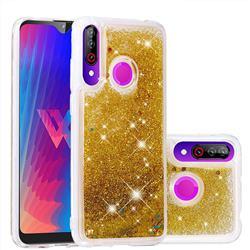 Dynamic Liquid Glitter Quicksand Sequins TPU Phone Case for LG W30 - Golden