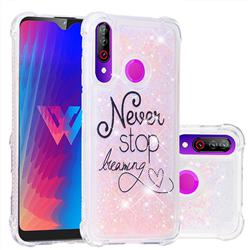 Never Stop Dreaming Dynamic Liquid Glitter Sand Quicksand Star TPU Case for LG W30