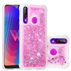 Dynamic Liquid Glitter Sand Quicksand TPU Case for LG W30 - Pink Love Heart