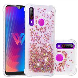 Dynamic Liquid Glitter Sand Quicksand TPU Case for LG W30 - Rose Gold Love Heart