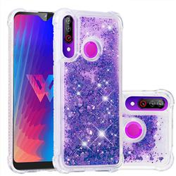 Dynamic Liquid Glitter Sand Quicksand Star TPU Case for LG W30 - Purple