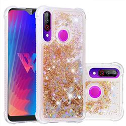 Dynamic Liquid Glitter Sand Quicksand Star TPU Case for LG W30 - Diamond Gold