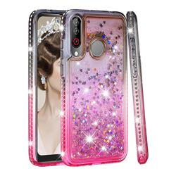 Diamond Frame Liquid Glitter Quicksand Sequins Phone Case for LG W30 - Gray Pink
