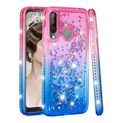 Diamond Frame Liquid Glitter Quicksand Sequins Phone Case for LG W30 - Pink Blue