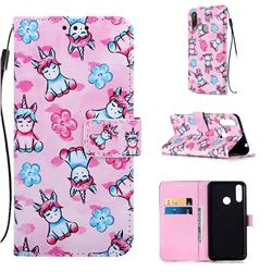 Unicorn and Flowers Matte Leather Wallet Phone Case for LG W30
