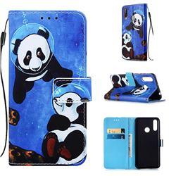 Undersea Panda Matte Leather Wallet Phone Case for LG W30