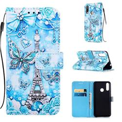 Tower Butterfly Matte Leather Wallet Phone Case for LG W30