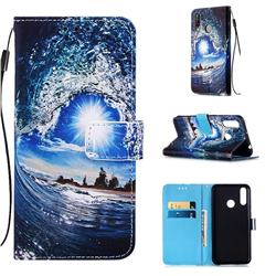 Waves and Sun Matte Leather Wallet Phone Case for LG W30