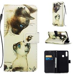 Cat Confrontation Matte Leather Wallet Phone Case for LG W30