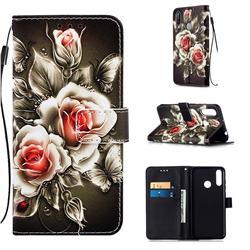 Black Rose Matte Leather Wallet Phone Case for LG W30