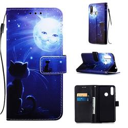 Cat and Moon Matte Leather Wallet Phone Case for LG W30