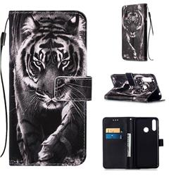 Black and White Tiger Matte Leather Wallet Phone Case for LG W30