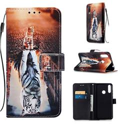 Cat and Tiger Matte Leather Wallet Phone Case for LG W30