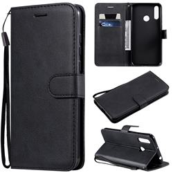 Retro Greek Classic Smooth PU Leather Wallet Phone Case for LG W30 - Black