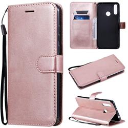 Retro Greek Classic Smooth PU Leather Wallet Phone Case for LG W30 - Rose Gold