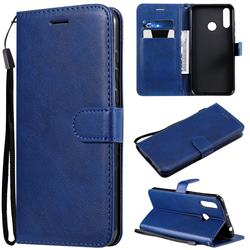 Retro Greek Classic Smooth PU Leather Wallet Phone Case for LG W30 - Blue