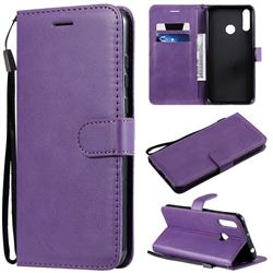 Retro Greek Classic Smooth PU Leather Wallet Phone Case for LG W30 - Purple