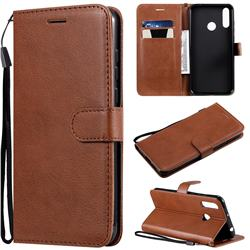 Retro Greek Classic Smooth PU Leather Wallet Phone Case for LG W30 - Brown