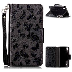 Luxury Laser Butterfly Optical Maser Leather Wallet Case for LG X Power LS755 K220DS K220 US610 K450 - Black