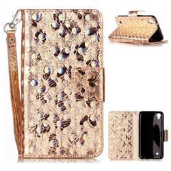 Luxury Laser Butterfly Optical Maser Leather Wallet Case for LG X Power LS755 K220DS K220 US610 K450 - Golden