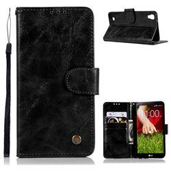 Luxury Retro Leather Wallet Case for LG X Power LS755 K220DS K220 US610 K450 - Black