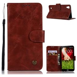 Luxury Retro Leather Wallet Case for LG X Power LS755 K220DS K220 US610 K450 - Wine Red