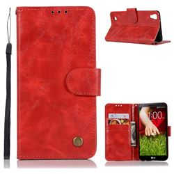 Luxury Retro Leather Wallet Case for LG X Power LS755 K220DS K220 US610 K450 - Red